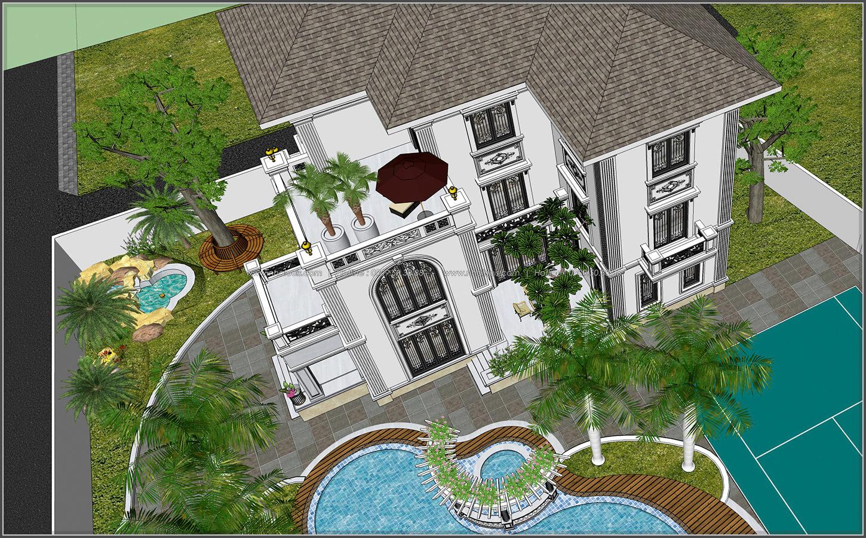 Biệt thự 3 tầng 2 mặt tiền có hồ bơi đẳng cấp tại Củ Chi