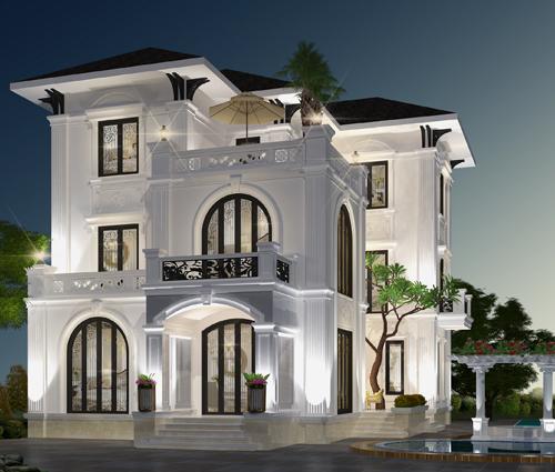 Thiết kế biệt thự 3 tầng 2 mặt tiền có hồ bơi đẳng cấp tại Củ Chi [Video]