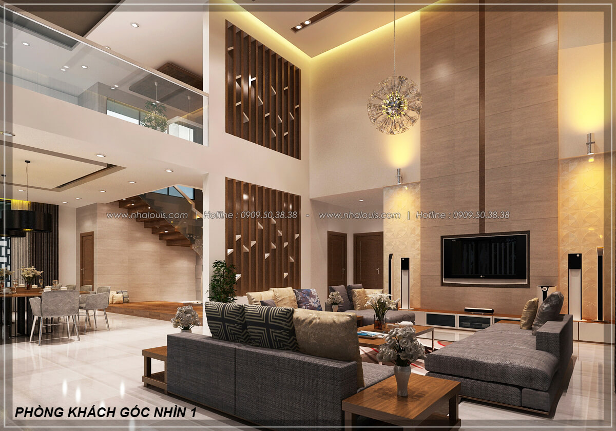 Phòng khách Biệt thự nhà vườn 2 tầng 3 phòng ngủ tại Kiên Giang đẹp hiện đại, tinh tế - 11