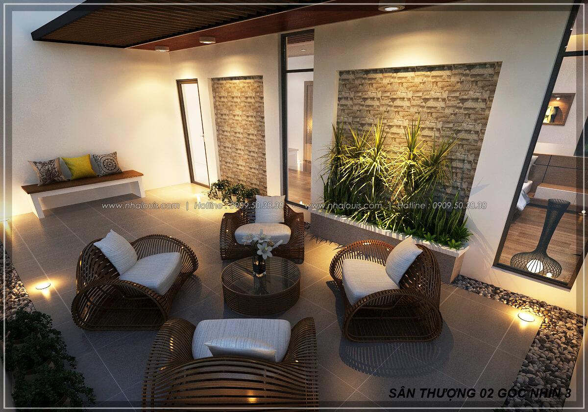 Sân thượng Biệt thự nhà vườn 2 tầng 3 phòng ngủ tại Kiên Giang đẹp hiện đại, tinh tế - 18