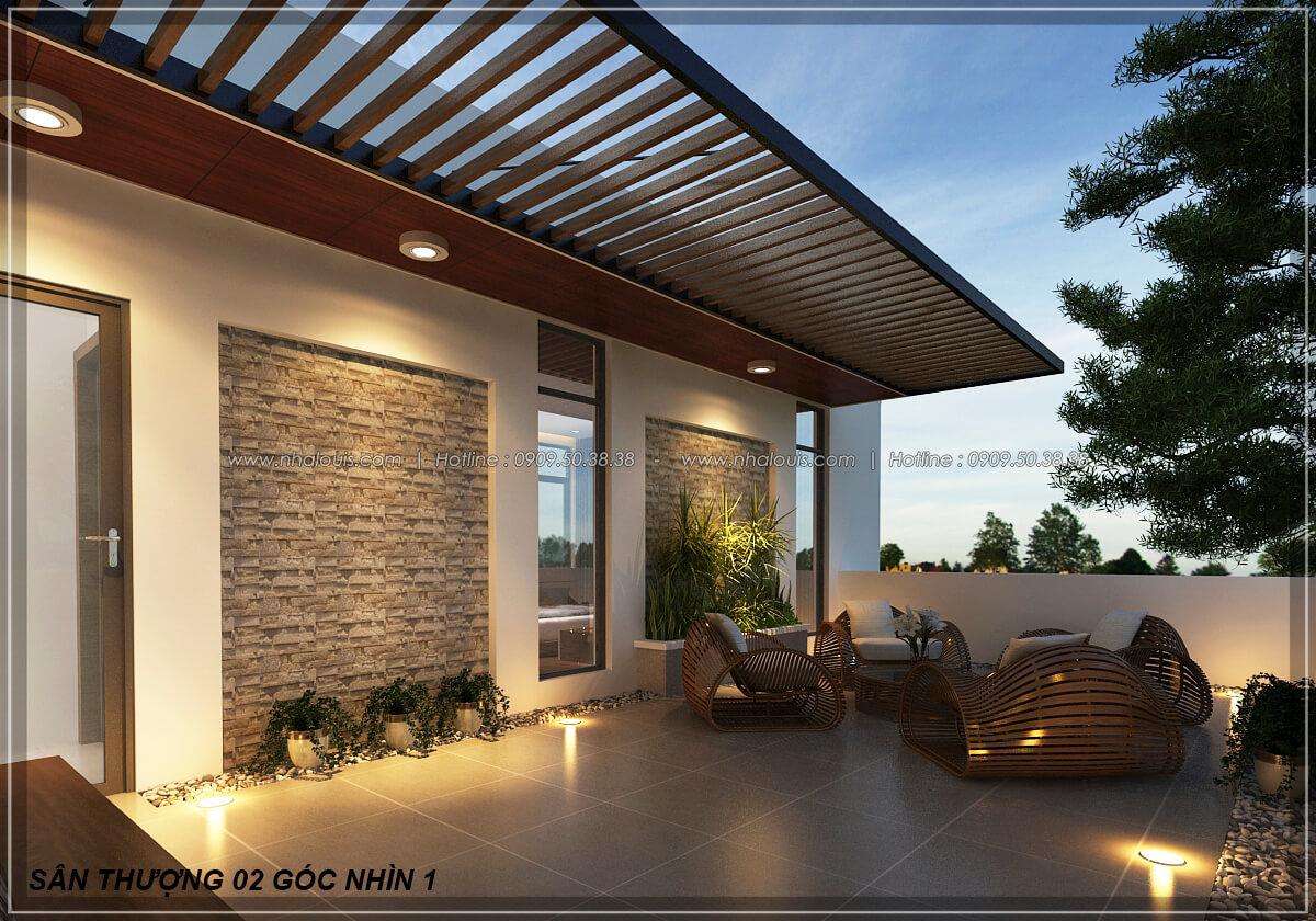Sân thượng Biệt thự nhà vườn 2 tầng 3 phòng ngủ tại Kiên Giang đẹp hiện đại, tinh tế - 19