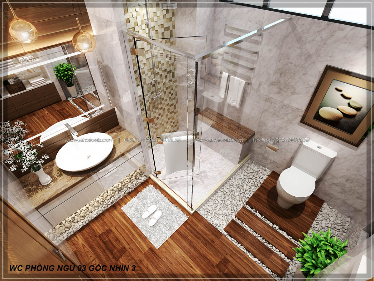 Phòng tắm và WC Biệt thự nhà vườn 2 tầng 3 phòng ngủ tại Kiên Giang đẹp hiện đại, tinh tế - 24