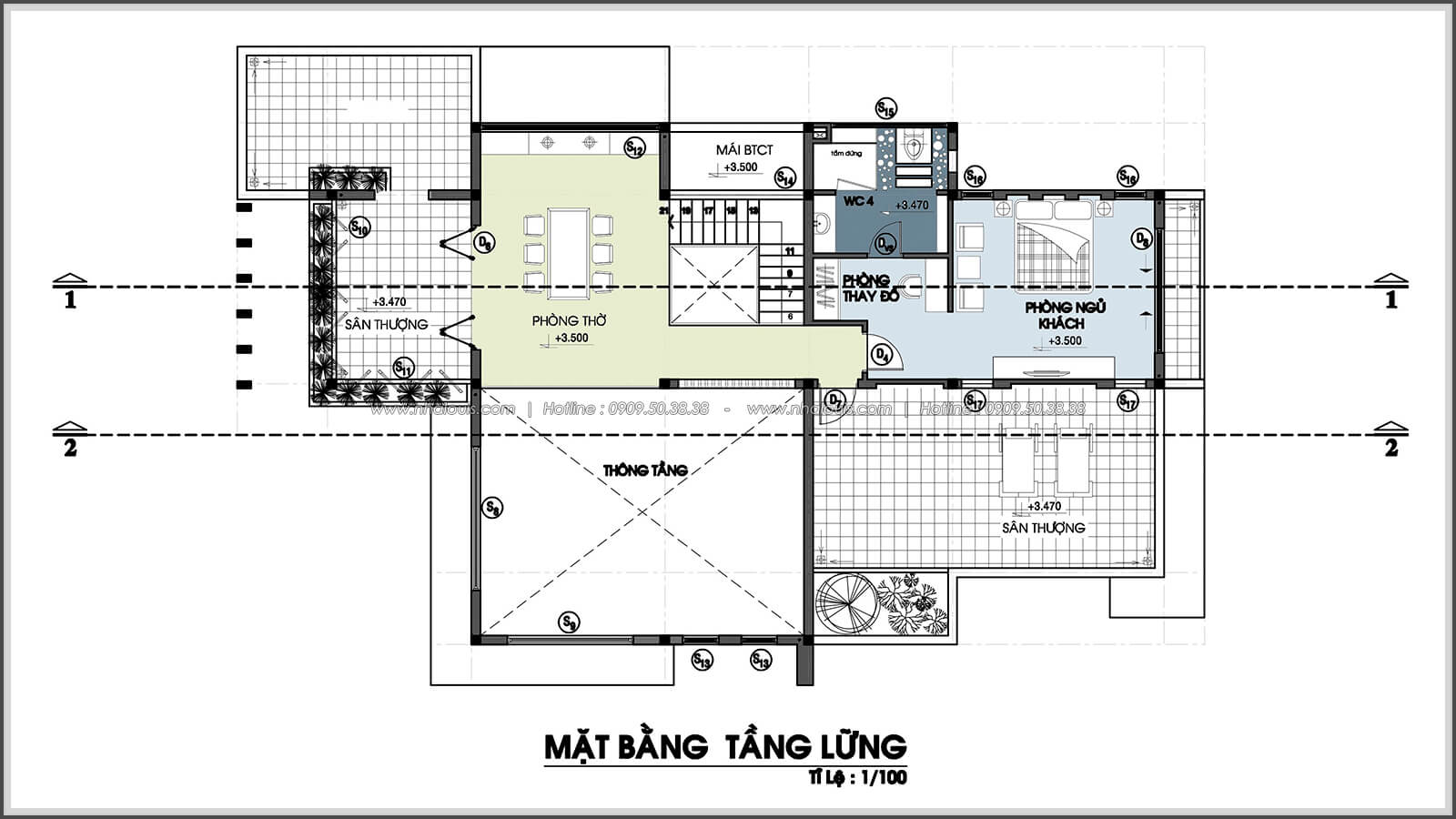 Mặt bằng tầng lửng Biệt thự nhà vườn 2 tầng 3 phòng ngủ tại Kiên Giang đẹp hiện đại, tinh tế - 3