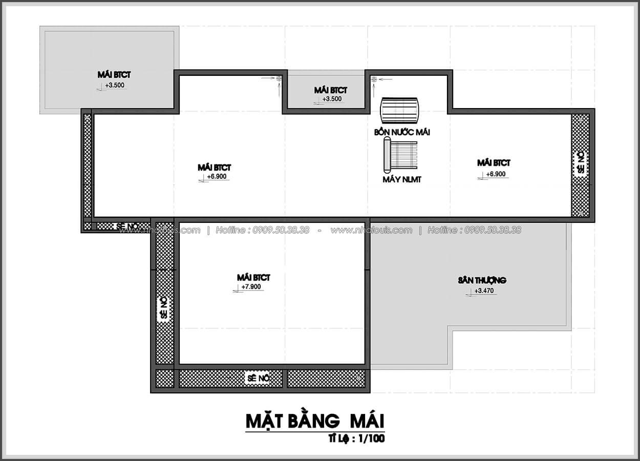 Mặt bằng mái Biệt thự nhà vườn 2 tầng 3 phòng ngủ tại Kiên Giang đẹp hiện đại, tinh tế - 4