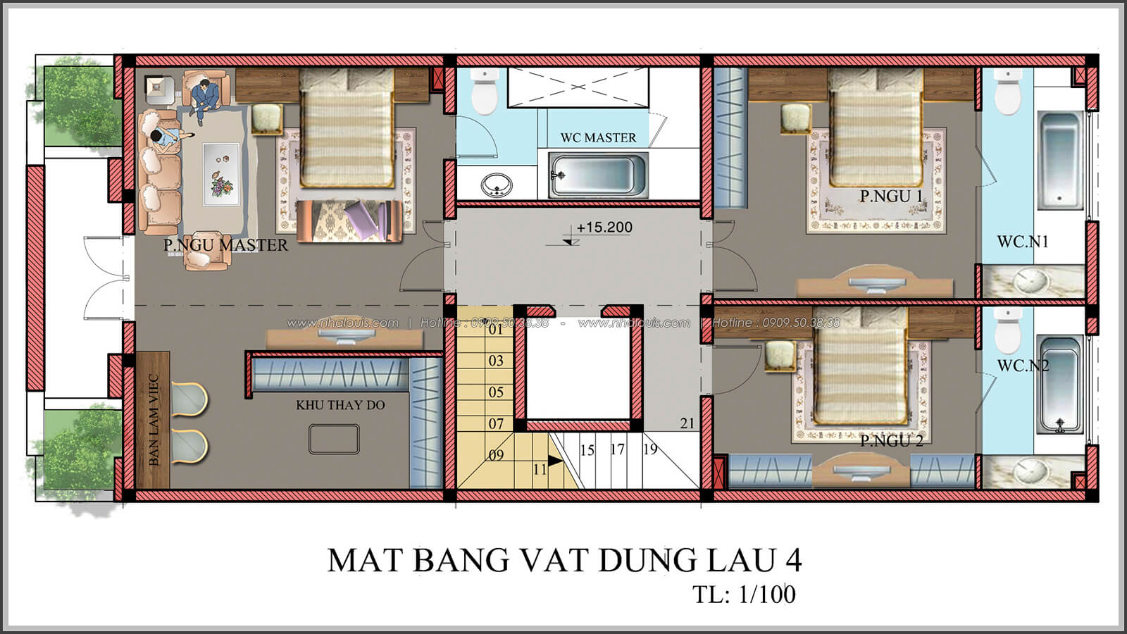 Mặt bằng tầng 4 thiết kế penthouses với nội thất cực chất anh Kim quận Tân Bình - 11