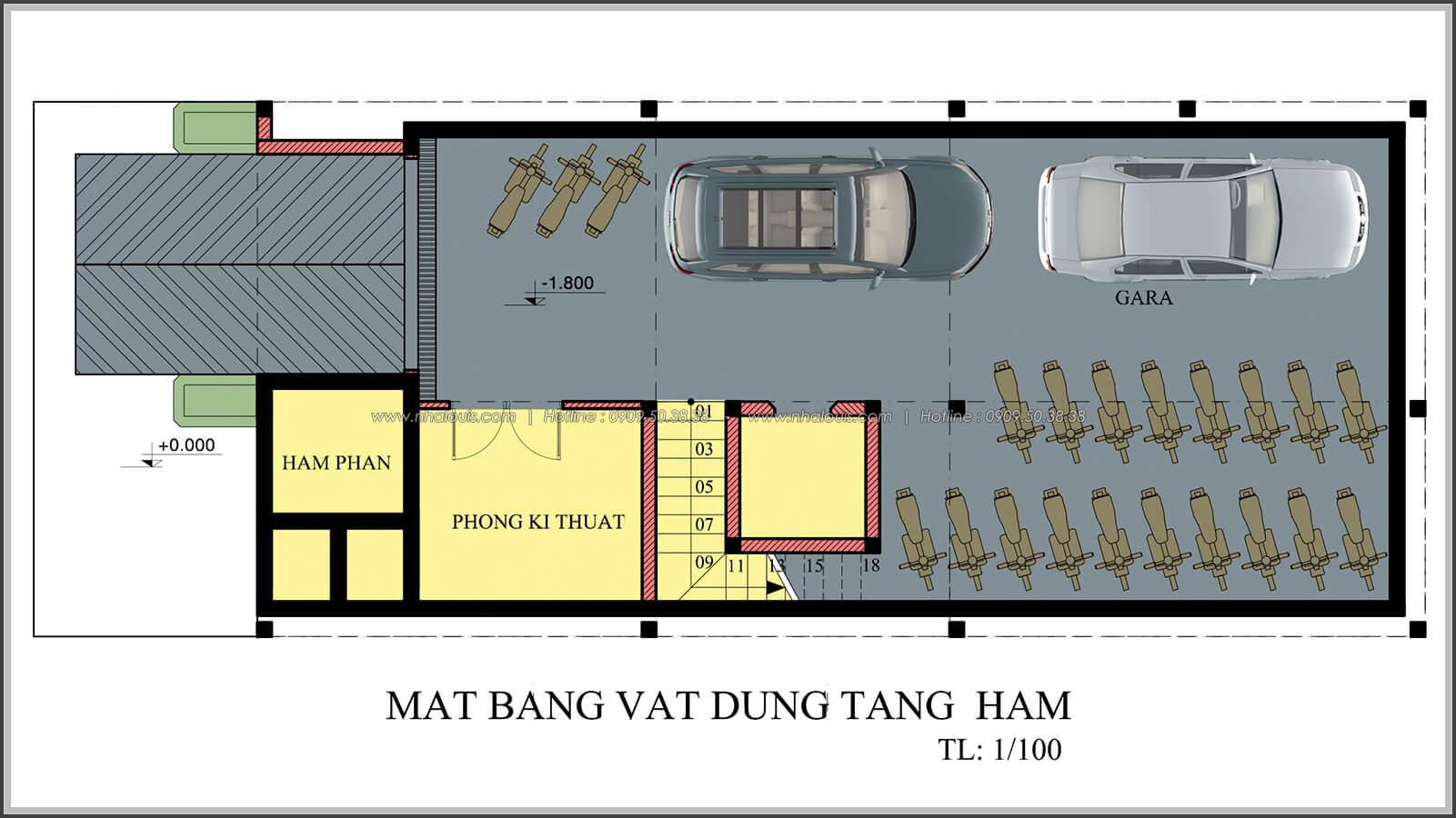 Mặt bằng tầng hầm thiết kế penthouses với nội thất cực chất anh Kim quận Tân Bình - 3