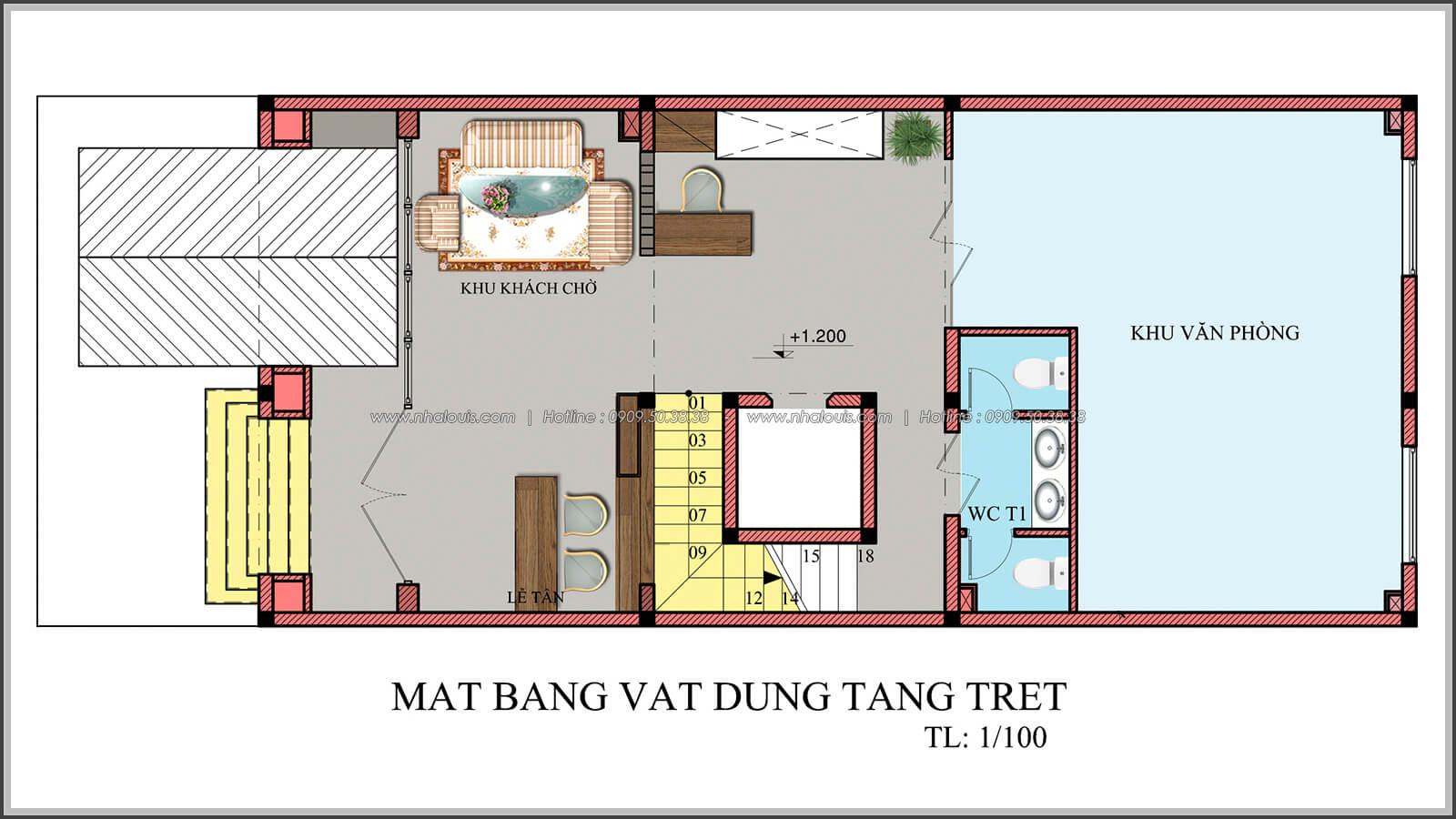 Mặt bằng tầng trệt thiết kế penthouses với nội thất cực chất anh Kim quận Tân Bình - 4
