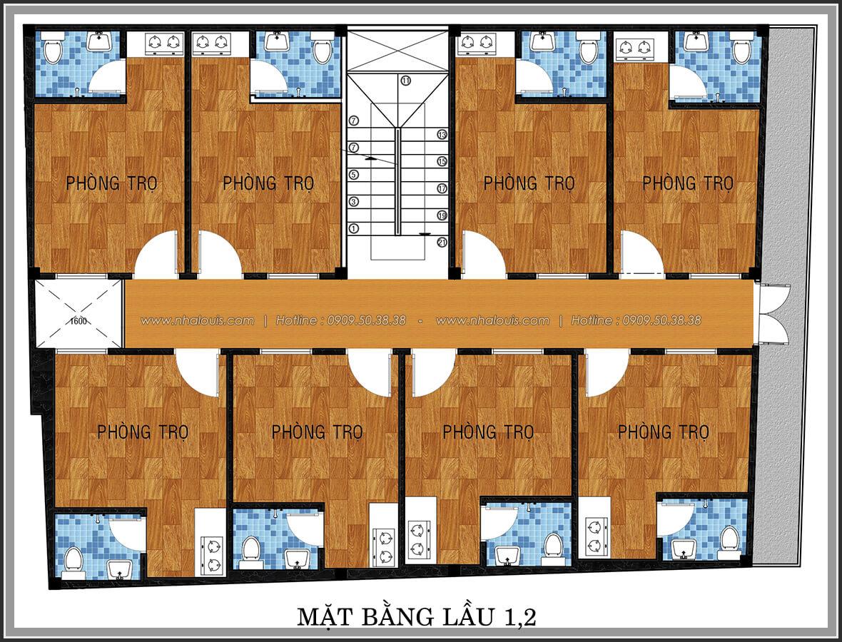 Mặt bằng lầu 1, lầu 2 thiết kế phòng trọ 15m2 tại Quận Bình Thạnh - 17