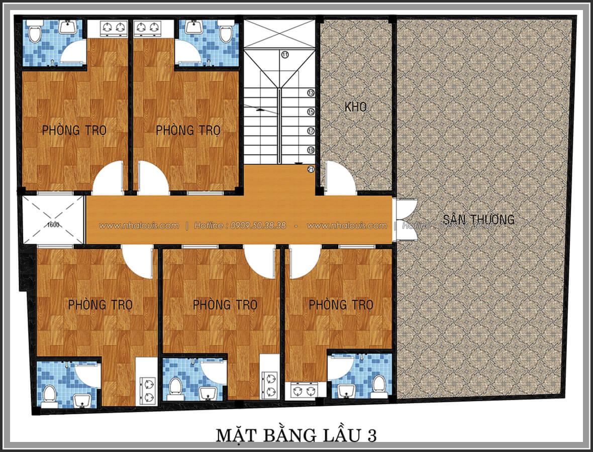 Mặt bằng lầu 3 thiết kế phòng trọ 15m2 tại Quận Bình Thạnh - 18