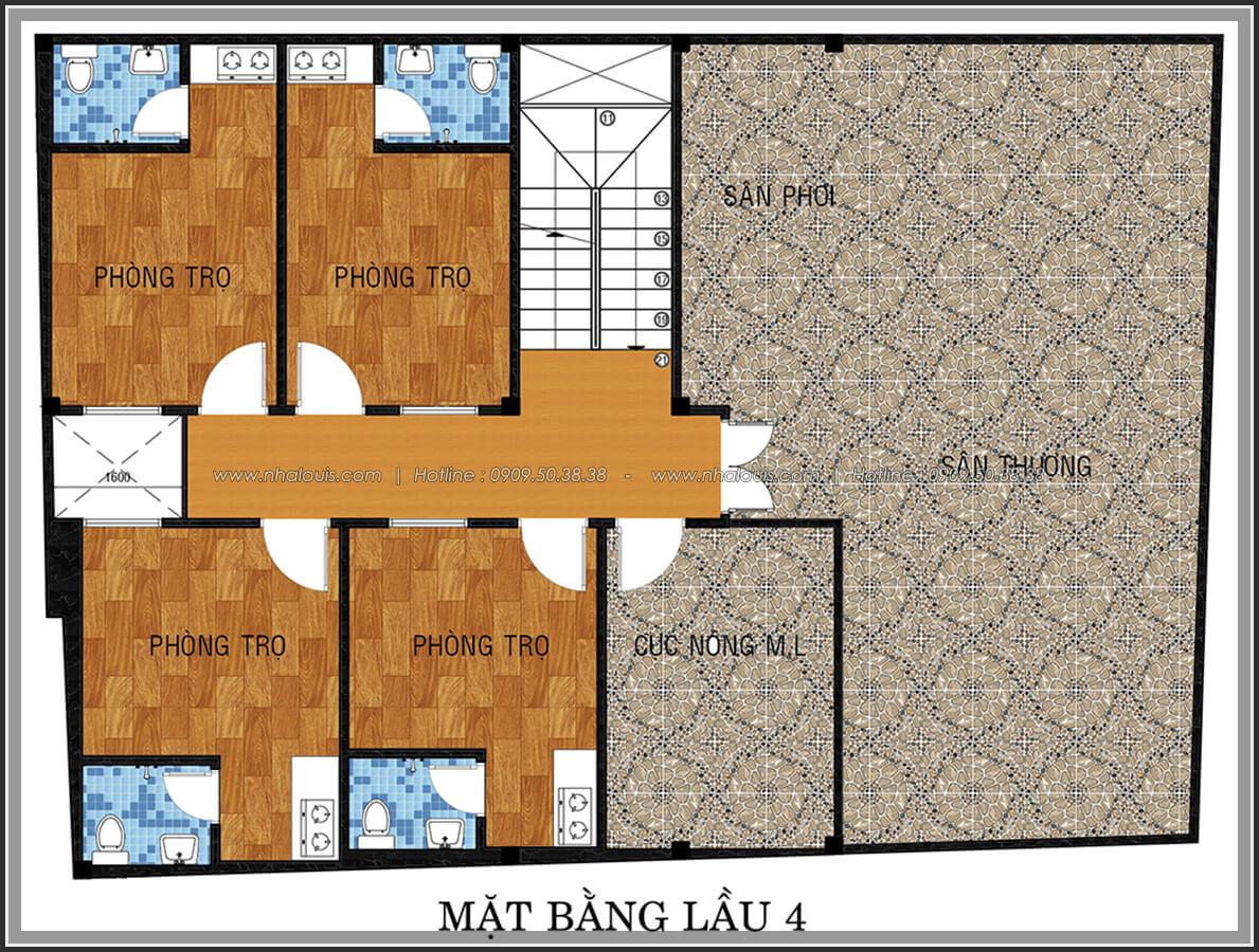Mặt bằng lầu 4 thiết kế phòng trọ 15m2 tại Quận Bình Thạnh - 19