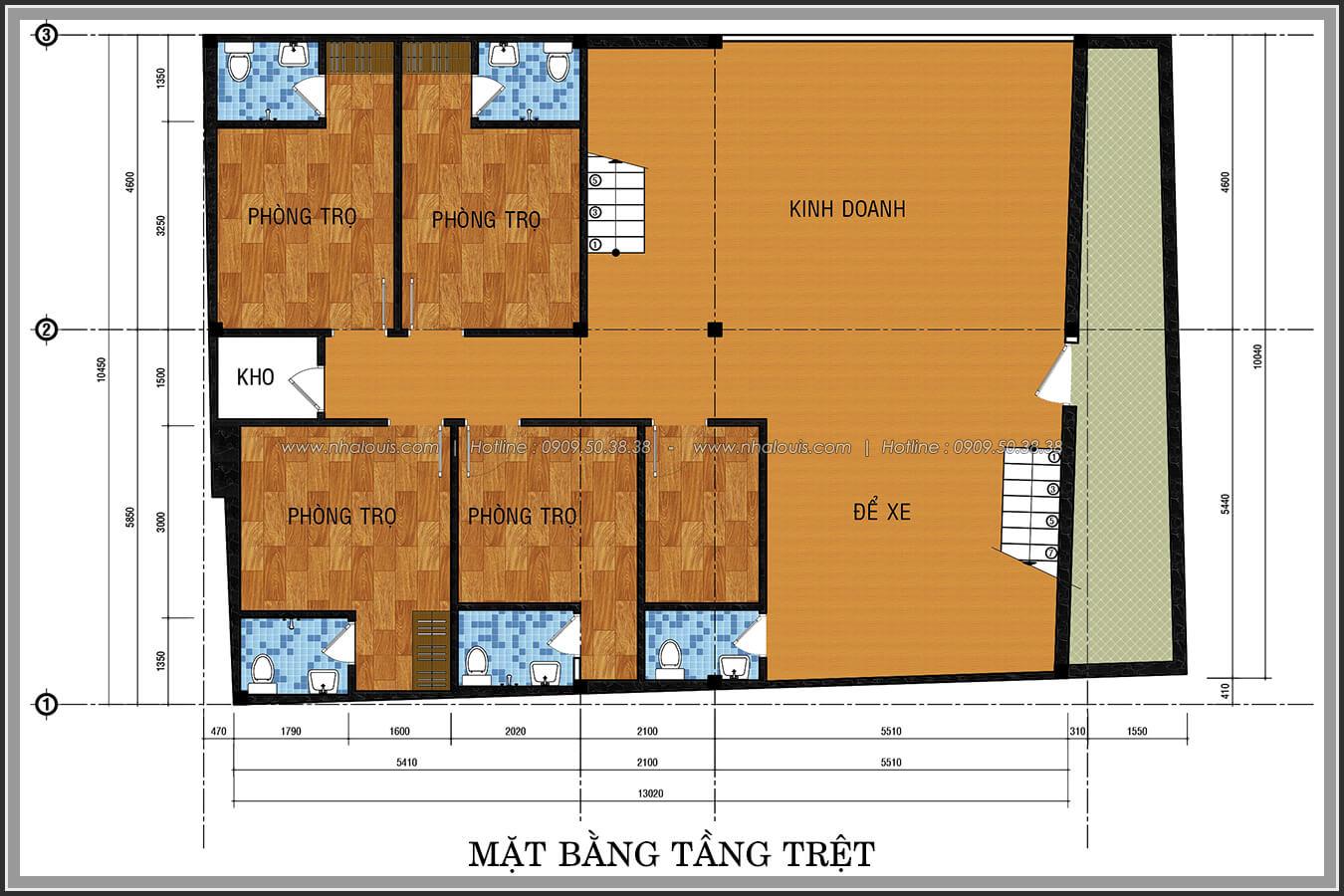 Mặt bằng tầng trệt thiết kế phòng trọ 15m2 tại Quận Bình Thạnh - 3