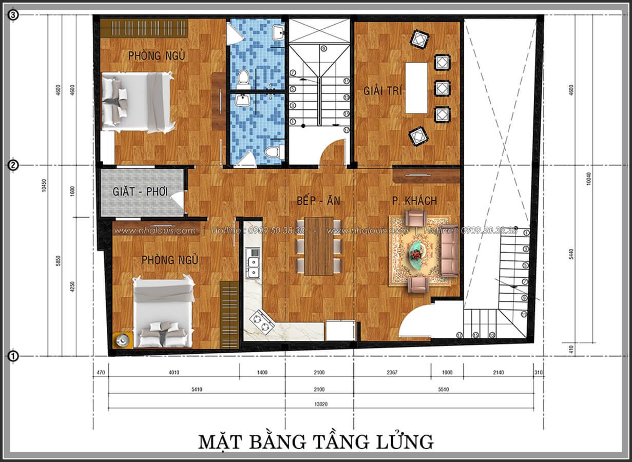 Mặt bằng tầng lửng thiết kế phòng trọ 15m2 tại Quận Bình Thạnh - 4