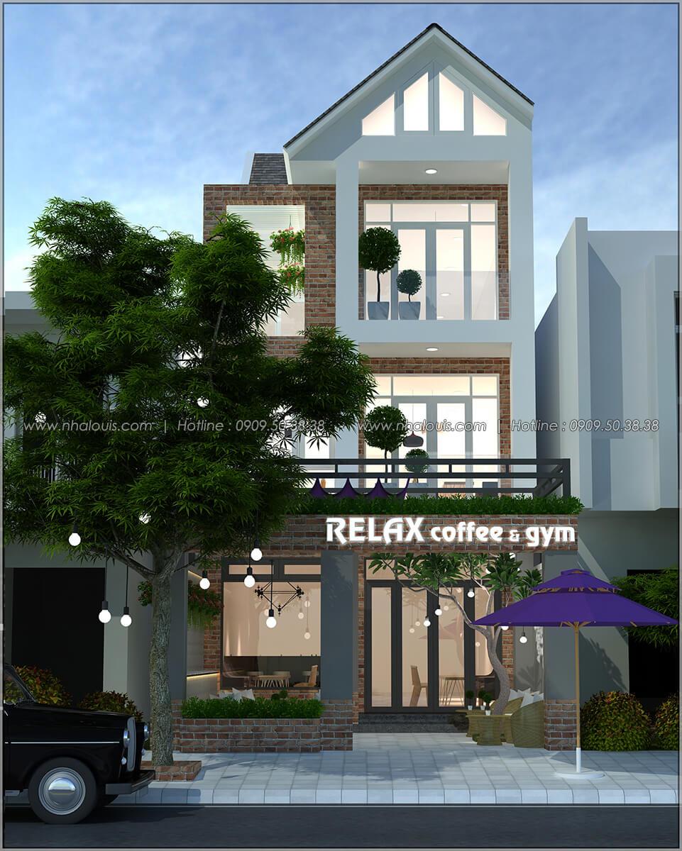 Mặt tiền thiết kế quán cafe đơn giản từ nhà phố 3 tầng tại Bình Chánh - 01