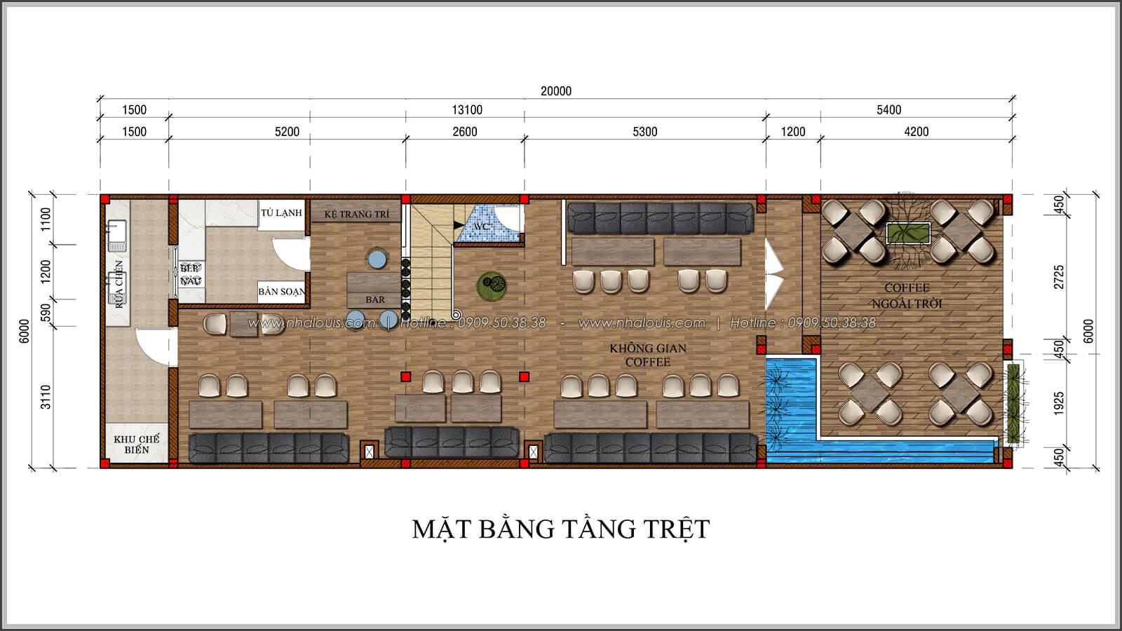 Mặt bằng tầng trệt thiết kế quán cafe đơn giản từ nhà phố 3 tầng tại Bình Chánh - 02