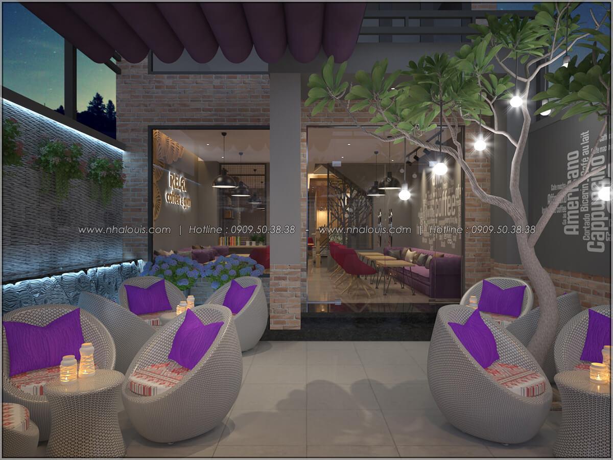 Không gian bên ngoài thiết kế quán cafe đơn giản từ nhà phố 3 tầng tại Bình Chánh - 03