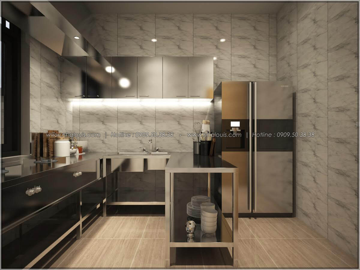 Phòng bếp thiết kế quán cafe đơn giản từ nhà phố 3 tầng tại Bình Chánh - 15
