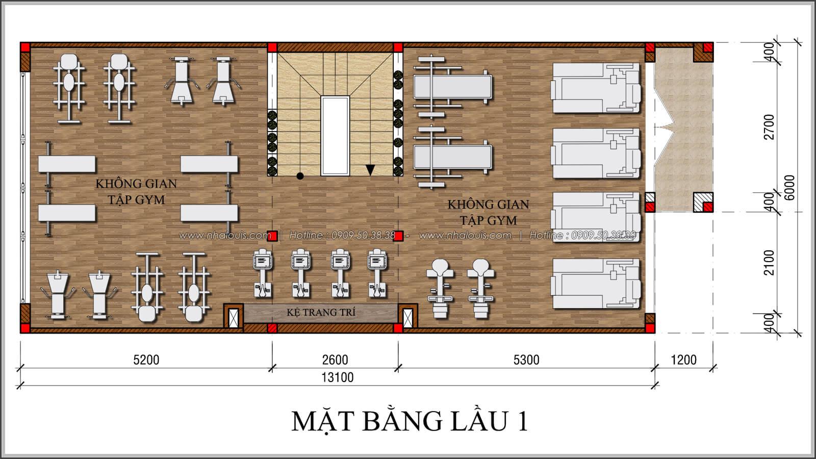 mặt bằng lầu 1 thiết kế quán cafe đơn giản từ nhà phố 3 tầng tại Bình Chánh - 17