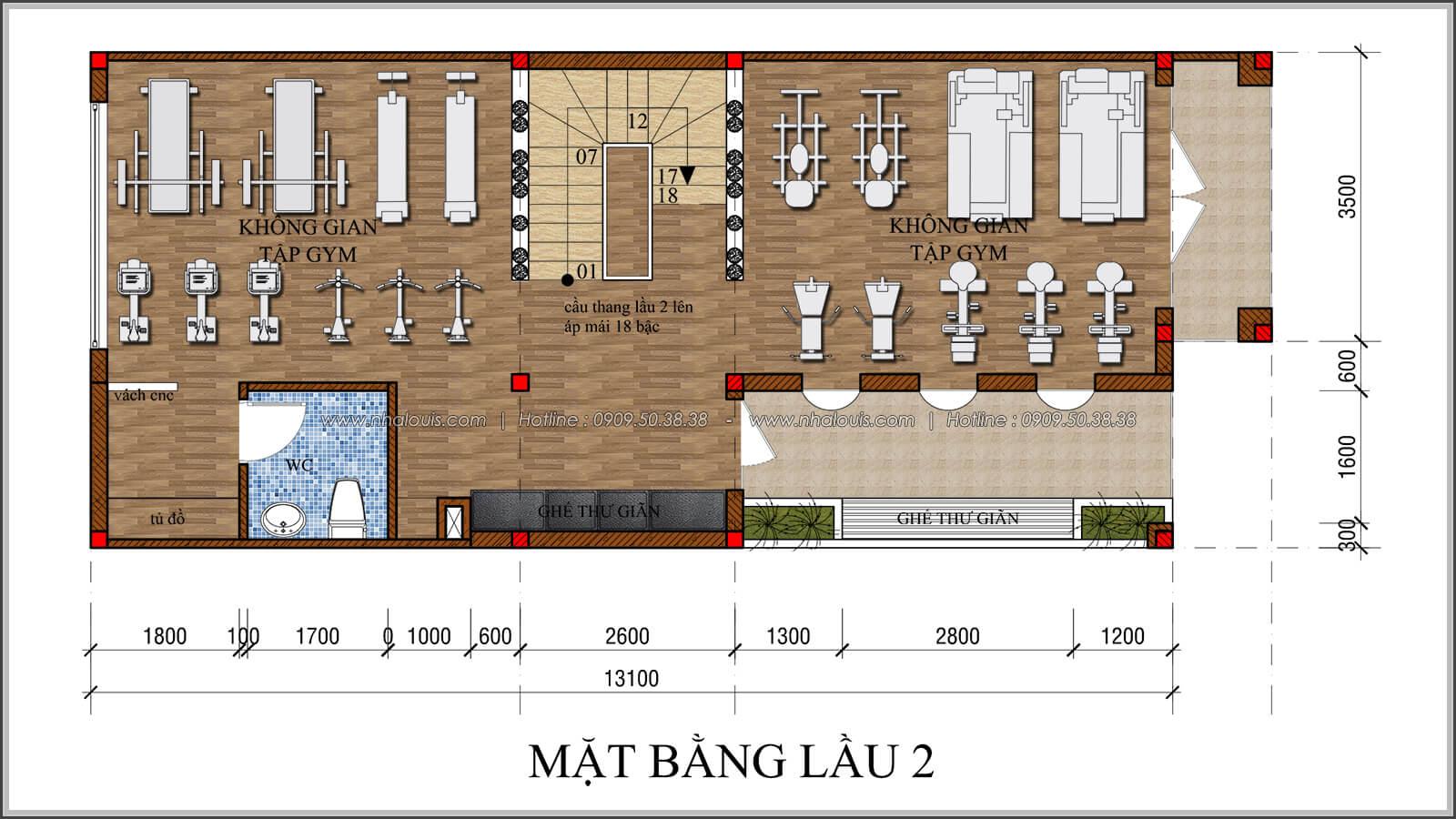 mặt bằng lầu 2 thiết kế quán cafe đơn giản từ nhà phố 3 tầng tại Bình Chánh - 22