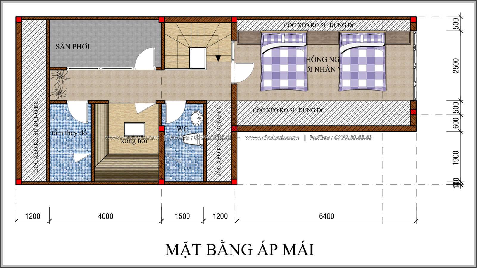 Mặt bằng áp mái thiết kế quán cafe đơn giản từ nhà phố 3 tầng tại Bình Chánh - 23