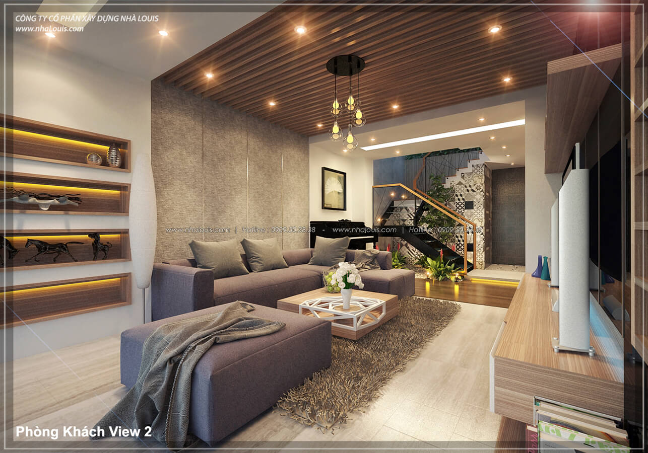 Phòng khách không gian xanh trong nhà tại Quận 7 - 10