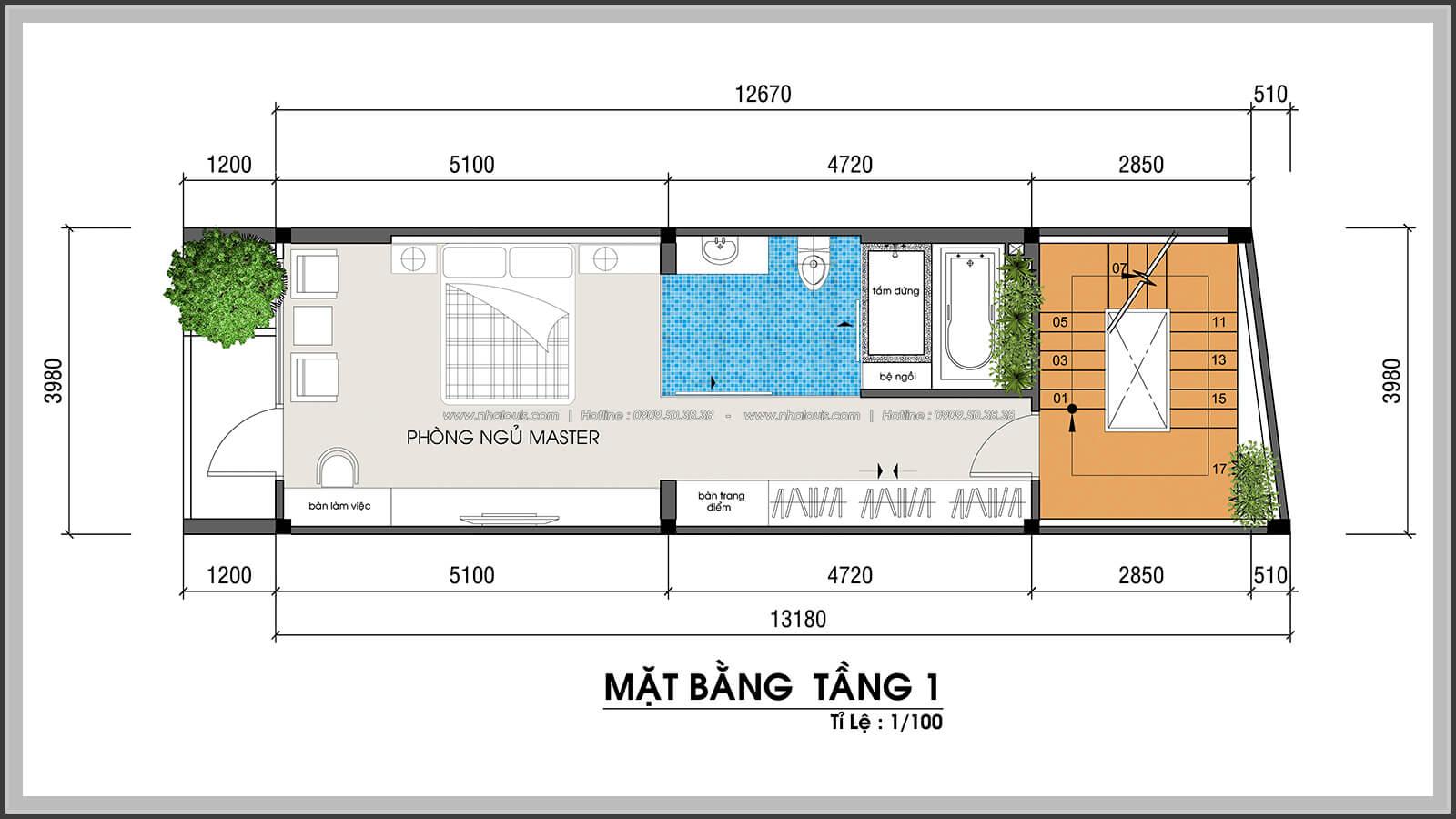 Mặt bằng tầng 1 không gian xanh trong nhà tại Quận 7 - 31