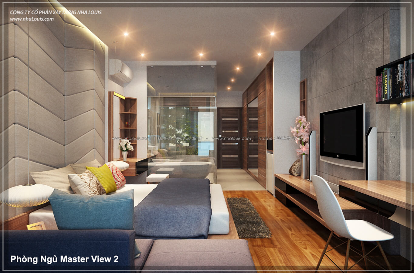 Phòng ngủ master không gian xanh trong nhà tại Quận 7 - 34