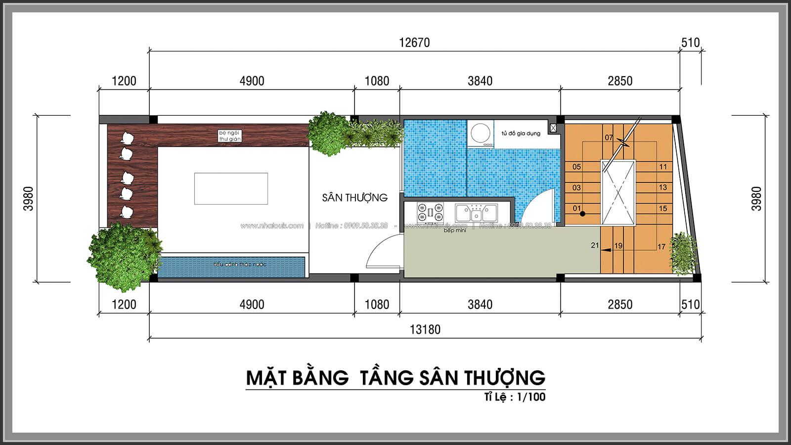 Mặt bằng sân thượng không gian xanh trong nhà tại Quận 7 - 53