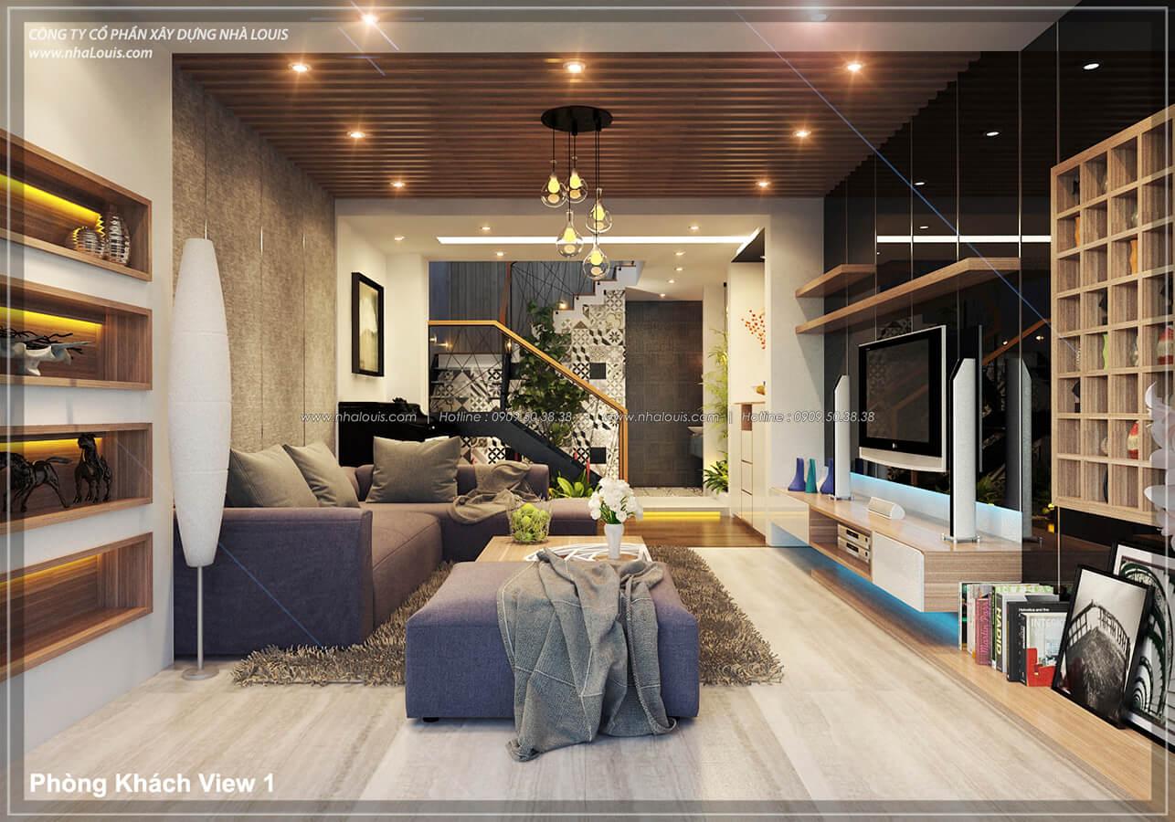Phòng khách không gian xanh trong nhà tại Quận 7 - 9