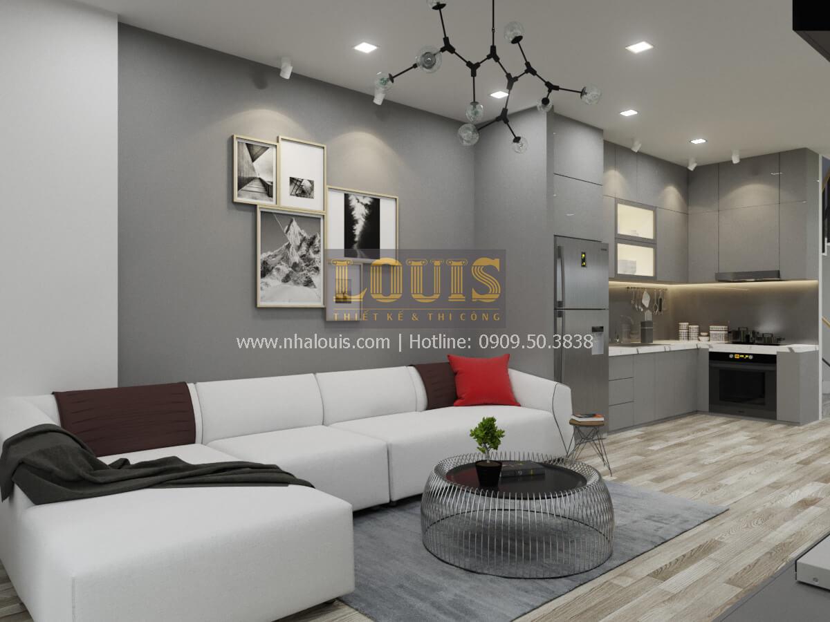 Phòng khách thiết kế nhà 2 mặt tiền