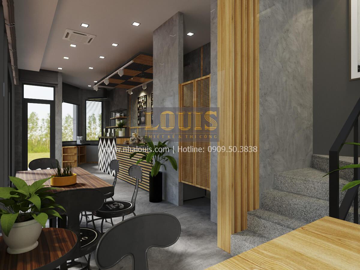 Phối cảnh 3D tầng trệt thiết kế quán cafe