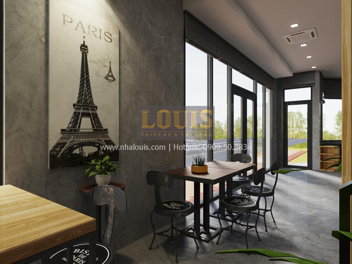 Phối cảnh 3D tầng trệt thiết kế quán cafe 02