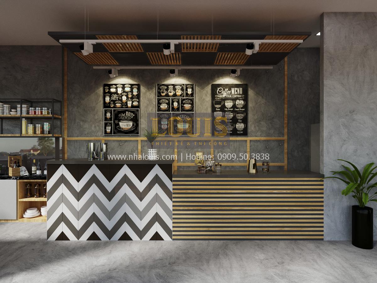 Phối cảnh 3D quầy pha chế thiết kế quán cafe