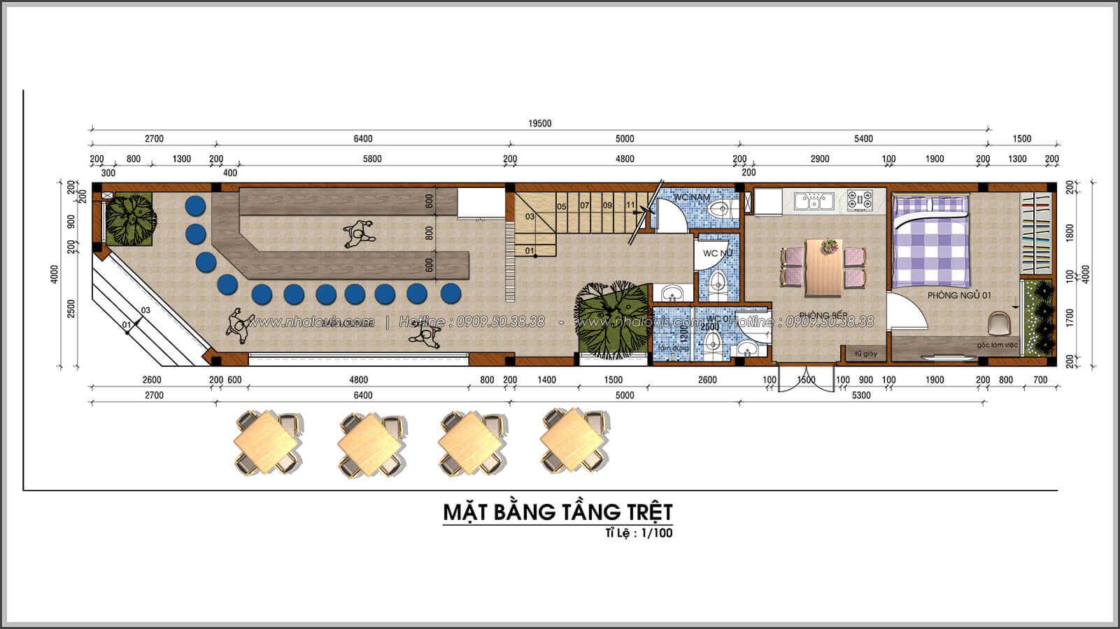 mặt bằng tầng trệt thiết kế nhà 2 mặt tiền độc đáo KDC Nam Long quận 7 - 04