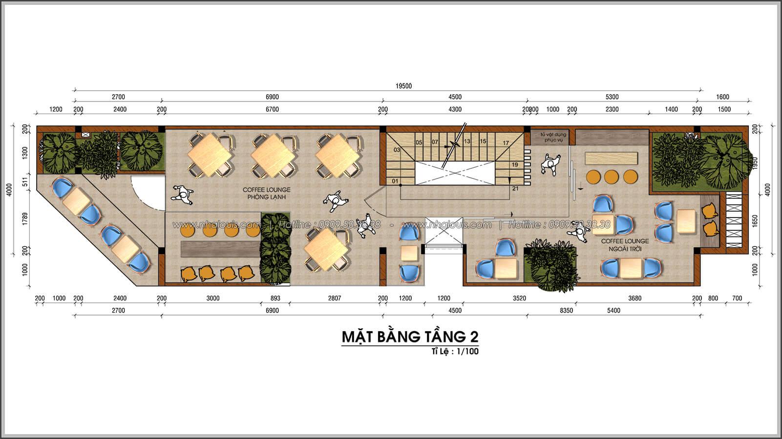 Mặt bằng tầng 2 thiết kế nhà 2 mặt tiền độc đáo KDC Nam Long quận 7 - 05
