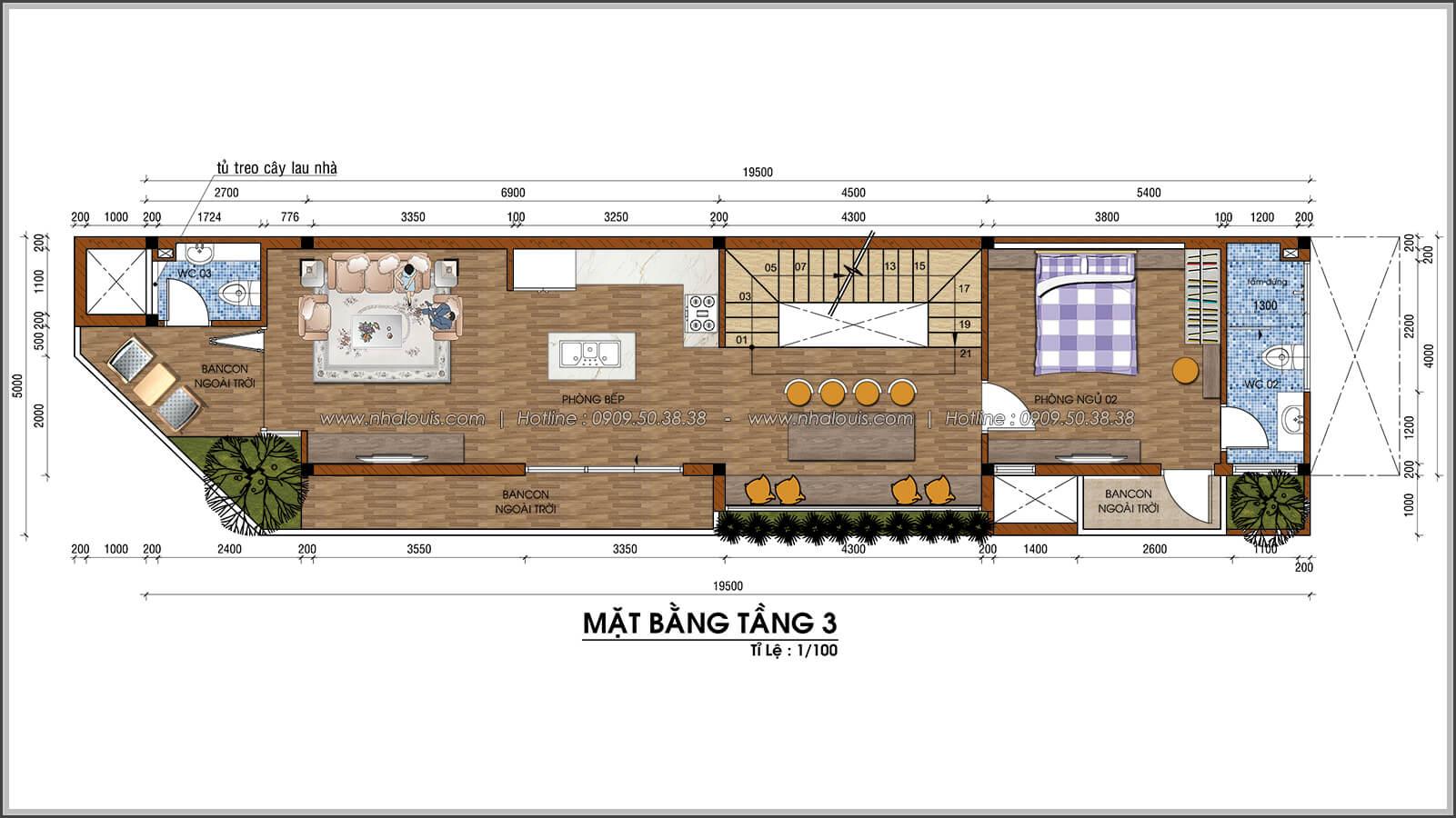 Mặt bằng tầng 3 thiết kế nhà 2 mặt tiền độc đáo KDC Nam Long quận 7 - 06