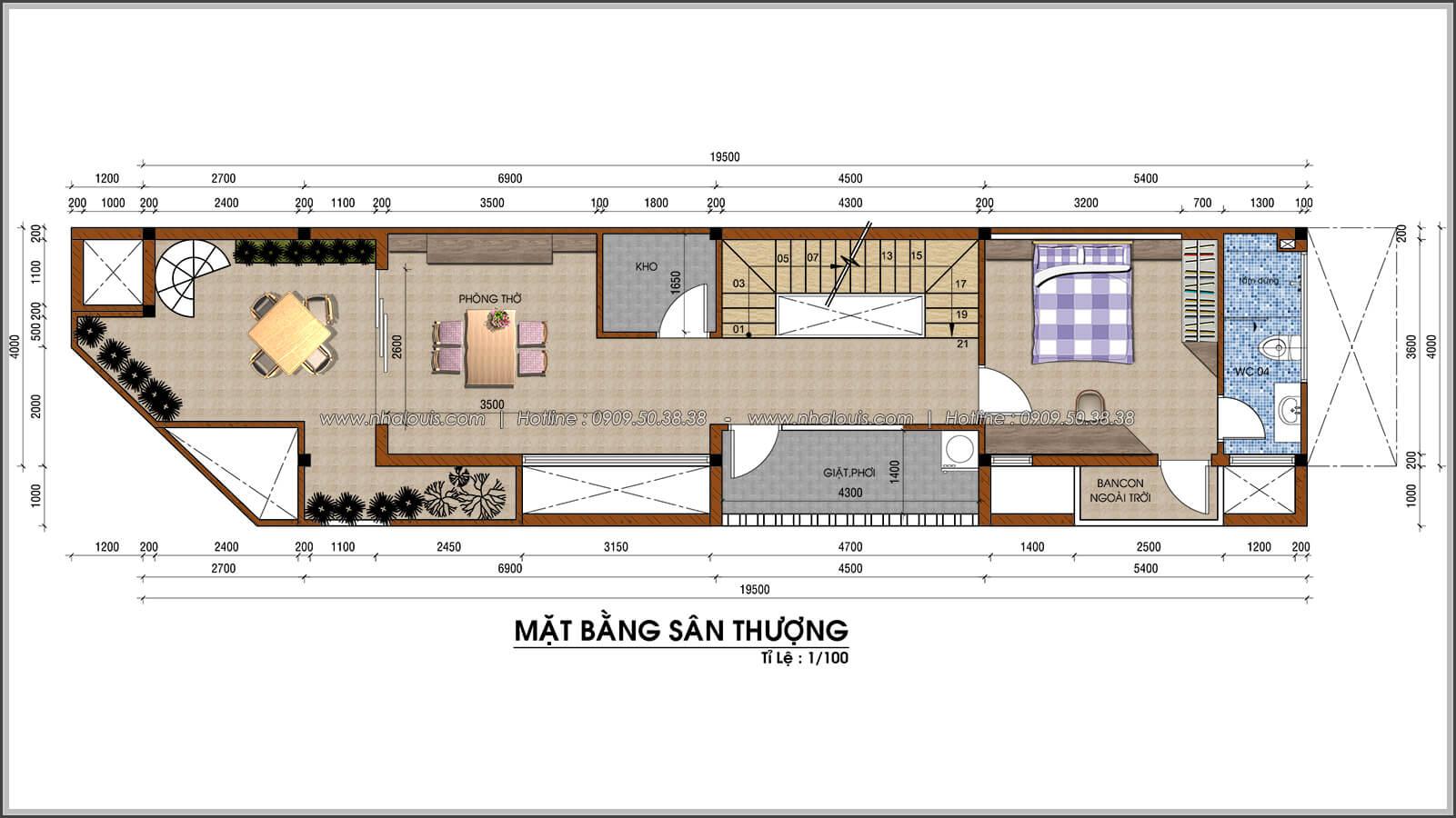 Mặt bằng sân thượng thiết kế nhà 2 mặt tiền độc đáo KDC Nam Long quận 7 - 07