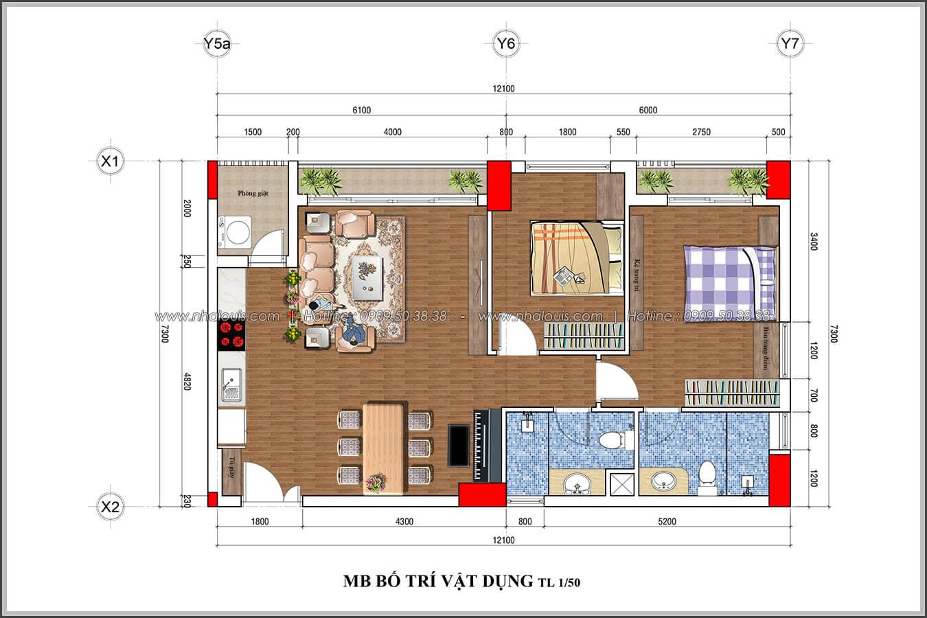 Mặt bằng tổng thể Mê đắm thiết kế nội thất chung cư 2 phòng ngủ sang trọng tại Green Valley Quận 7 - 19