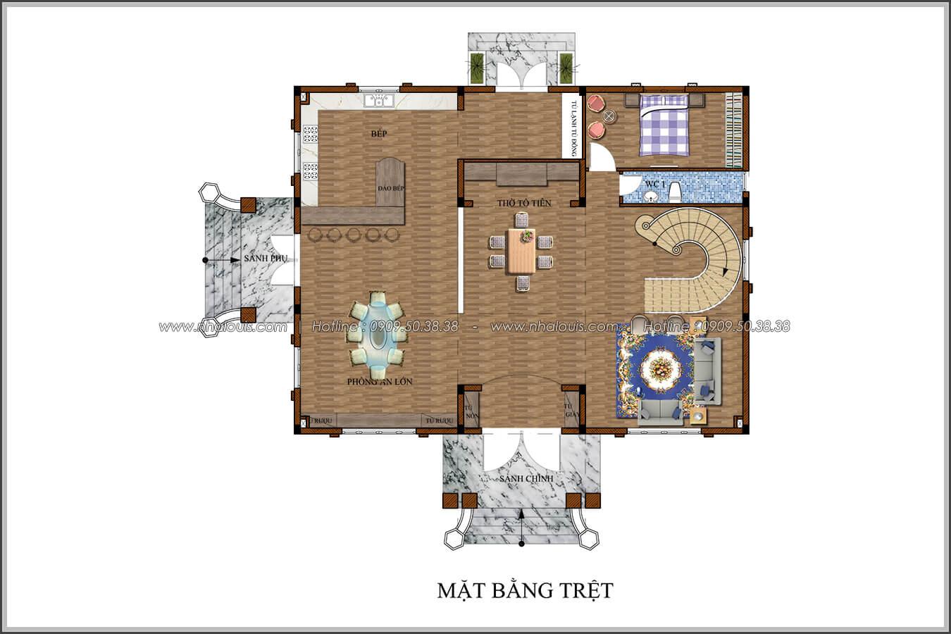 Mặt bằng tầng trệt Mê mẩn với thiết kế biệt thự 3 tầng kiểu Pháp hoành tráng tại Biên Hòa - 05