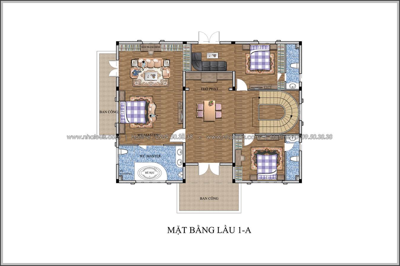 Mặt bằng lầu 1 Mê mẩn với thiết kế biệt thự 3 tầng kiểu Pháp hoành tráng tại Biên Hòa - 06