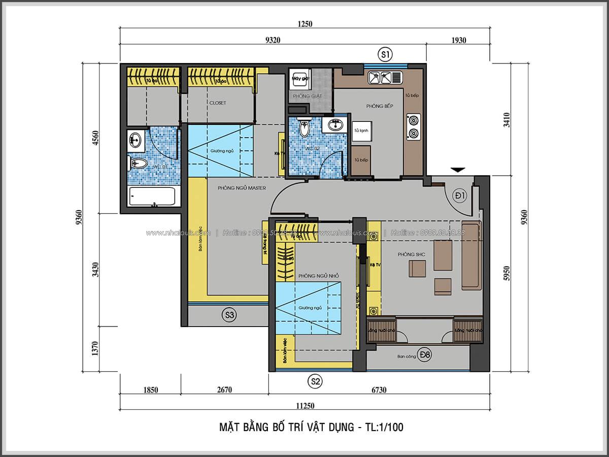 Mặt bằng thiết kế nội thất chung cư nhỏ tại Quận 5 đẹp tinh tế - 2