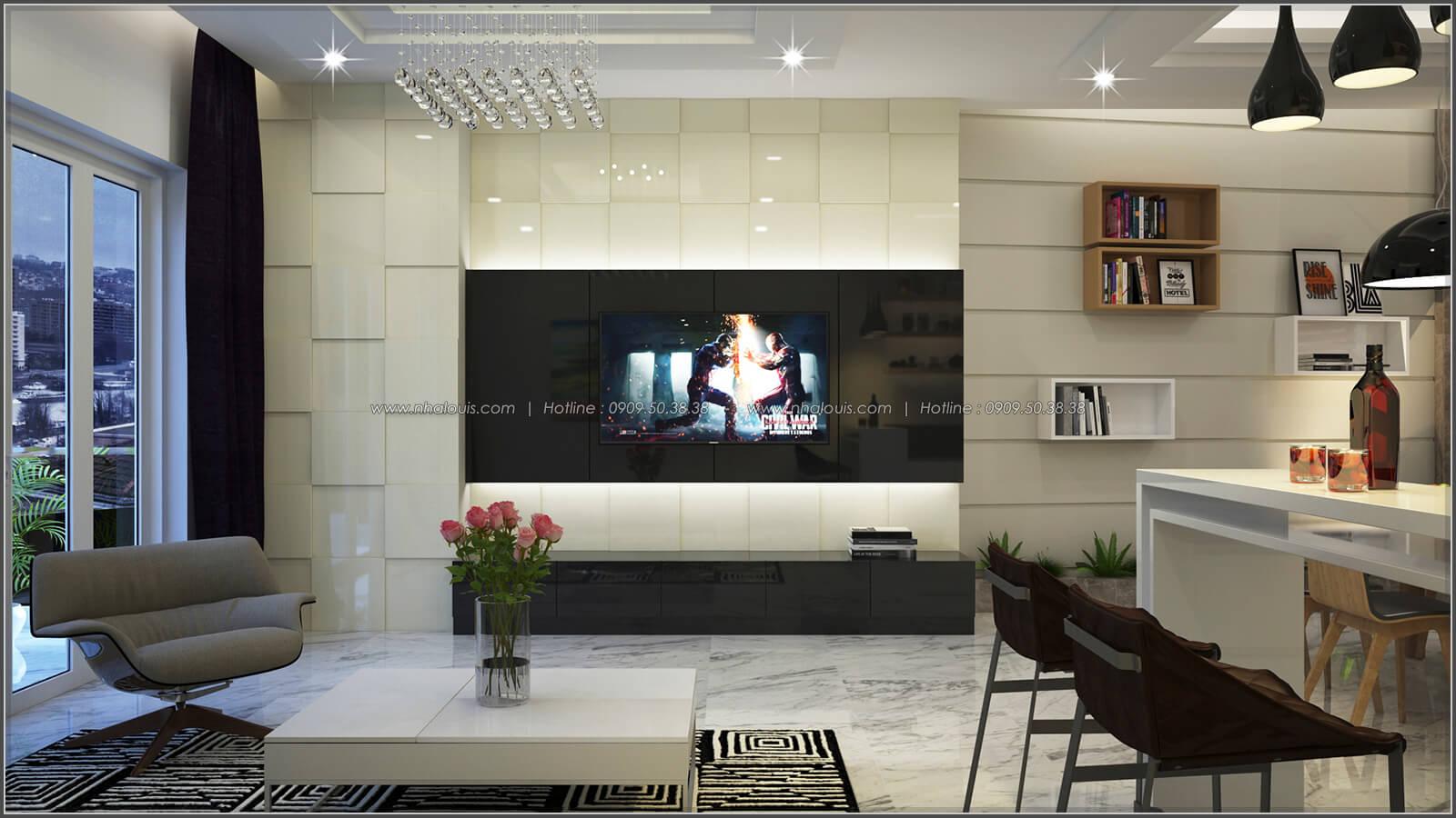 Phòng khách thiết kế nhà có tầng hầm của chị Lan tại Quận 1 - 10