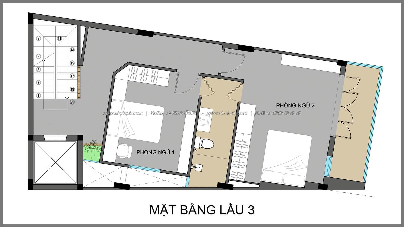 Mặt bằng lầu 3 thiết kế nhà có tầng hầm của chị Lan tại Quận 1 - 14