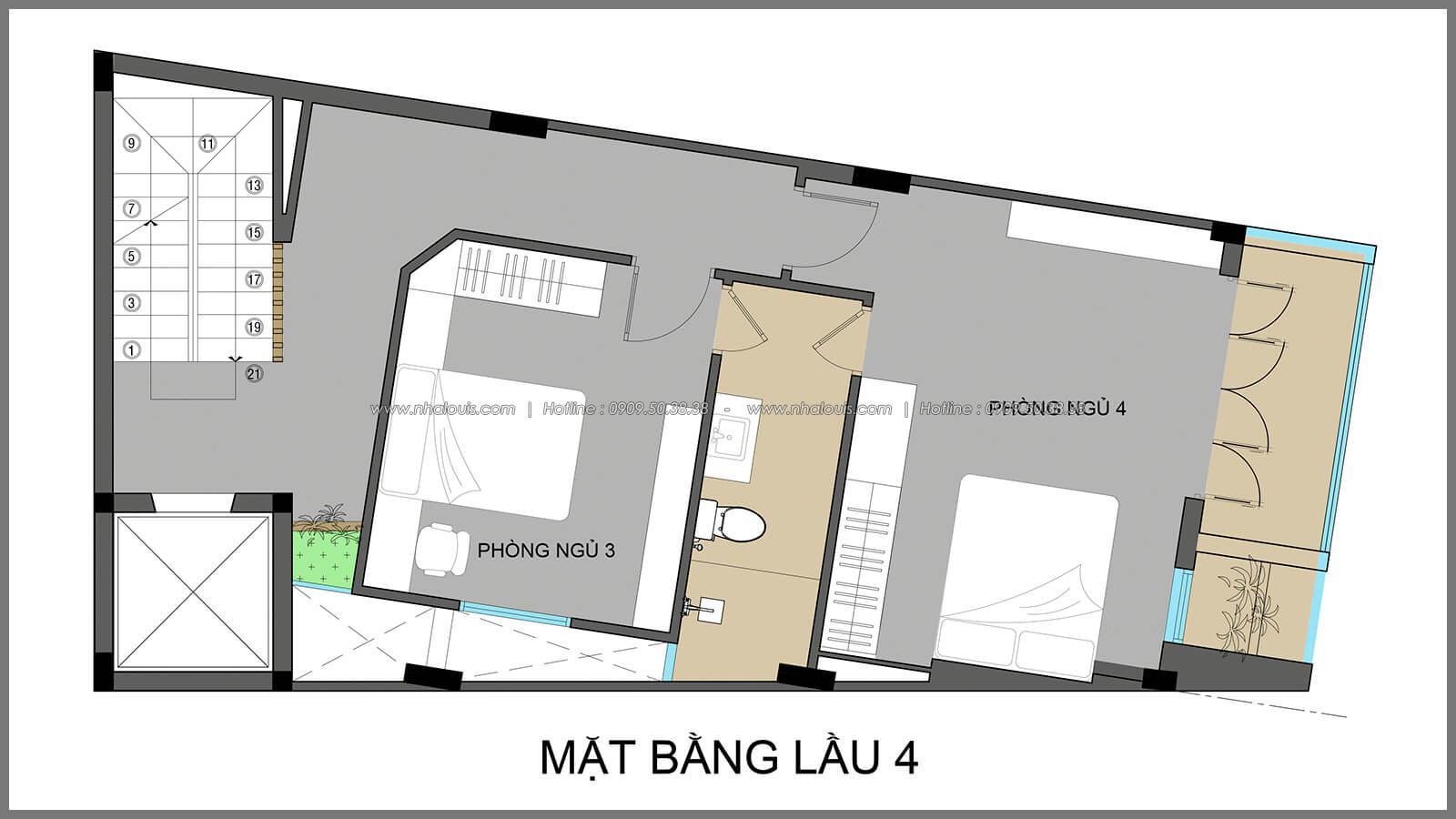 Phòng ngủ thiết kế nhà có tầng hầm của chị Lan tại Quận 1 - 22