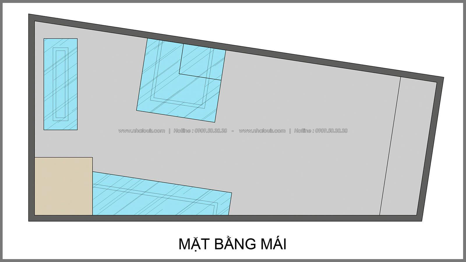 Mặt bằng mái thiết kế nhà có tầng hầm của chị Lan tại Quận 1 - 31