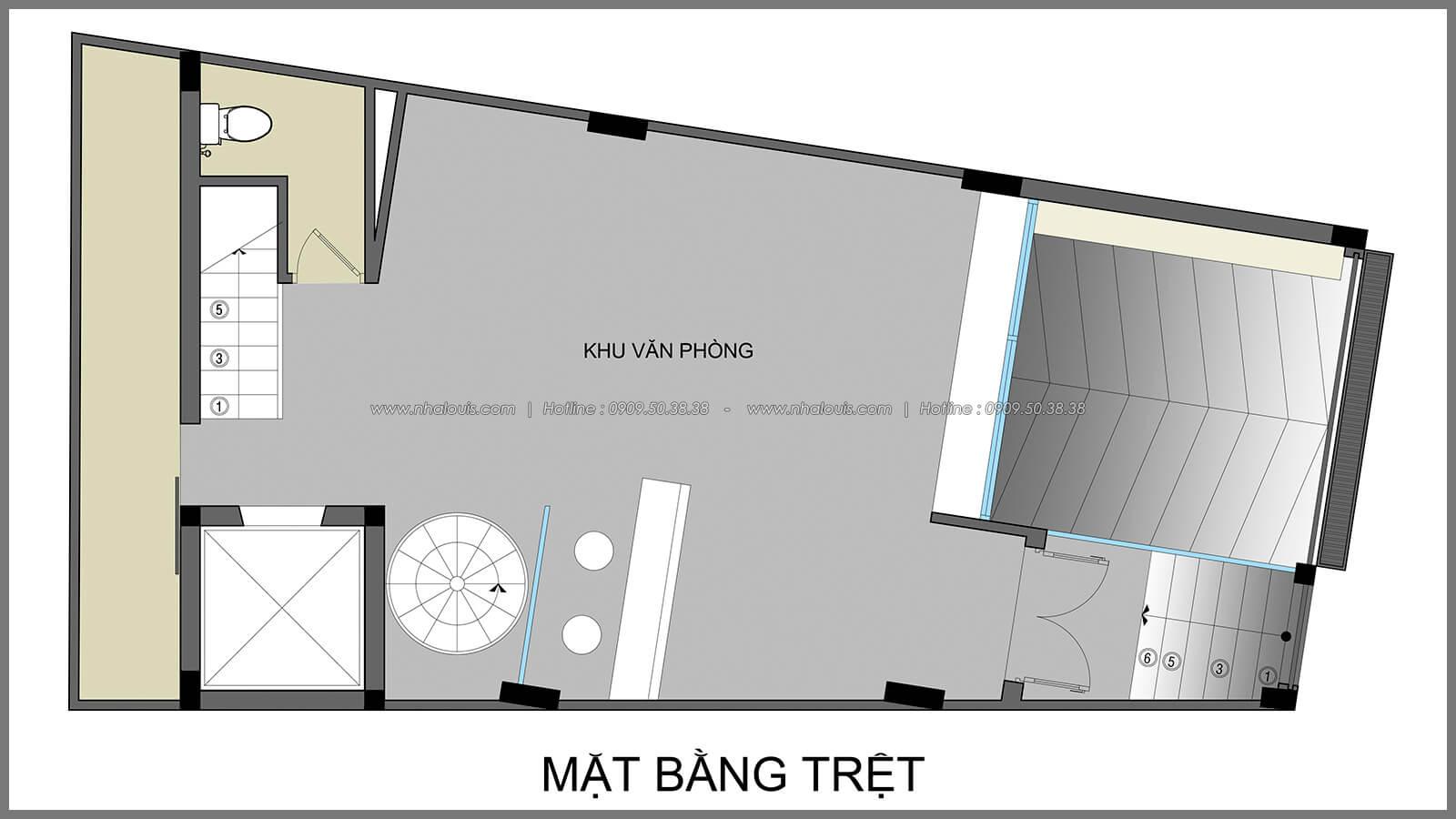 Mặt bằng trệt thiết kế nhà có tầng hầm của chị Lan tại Quận 1 - 4