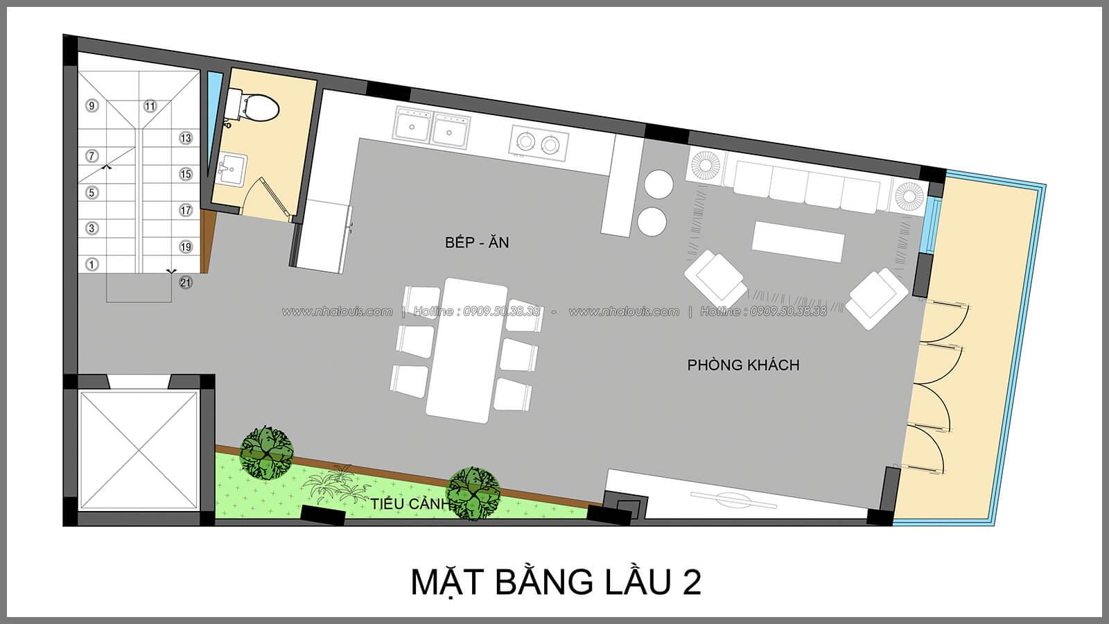 Mặt bằng lầu 2 thiết kế nhà có tầng hầm của chị Lan tại Quận 1 - 6