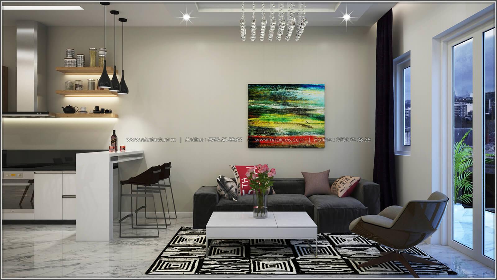 Phòng khách thiết kế nhà có tầng hầm của chị Lan tại Quận 1 - 9