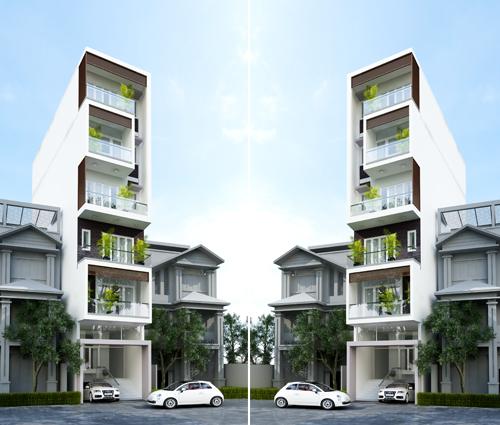 Thiết kế nhà phố có tầng hầm và 5 tầng cao ấn tượng tại quận 1