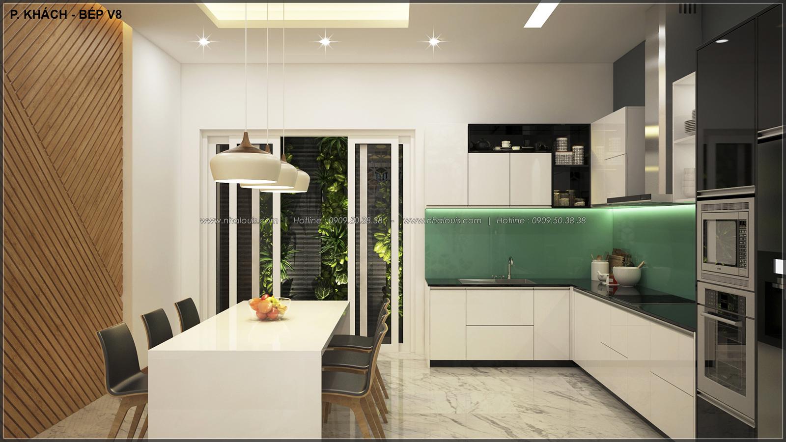 Phòng ăn phòng bếp với thiết kế nhà ống mặt tiền 5m của chị Linh quận 6 - 12