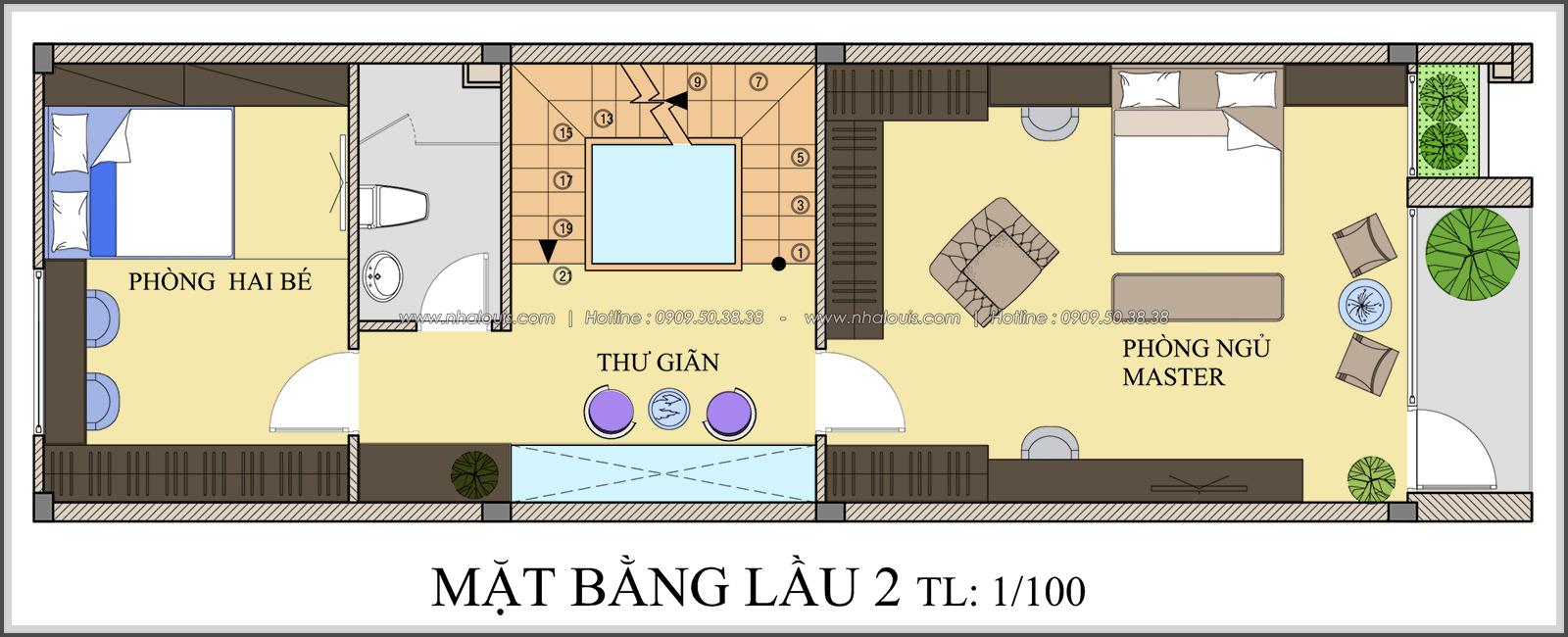 Mặt bằng lầu 2 thiết kế nhà ống mặt tiền 5m của chị Linh quận 6 - 23